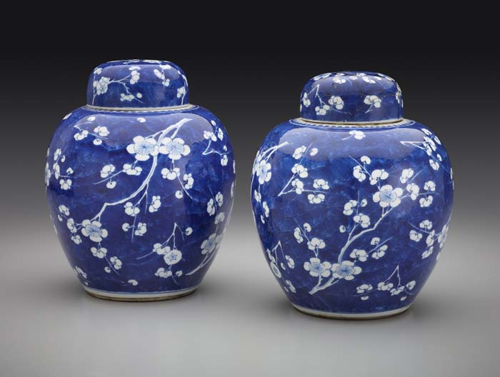 Chinese, Qing Dynasty (1644-1912) Ginger Jar with Plum-Blossom Decoration (Two of a Set of Four), 1662-1722 porcelain, blue and white 10 1/8 x 8 1/2 in. (25.7 x 21.6 cm) Henry Clay Frick Bequest Accession number: 1915.8.01