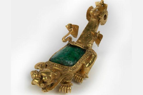 Jaguar Pendant, Panama, Sitio Conte, 700-900 CE, Gold, copper, silver, alloy and emerald, 40-13-27, Image provided courtesy of the Penn Museum