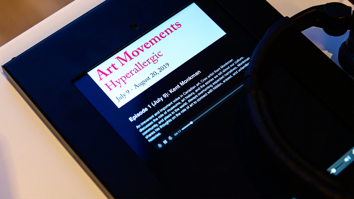 Image of podcast listening station with iPad