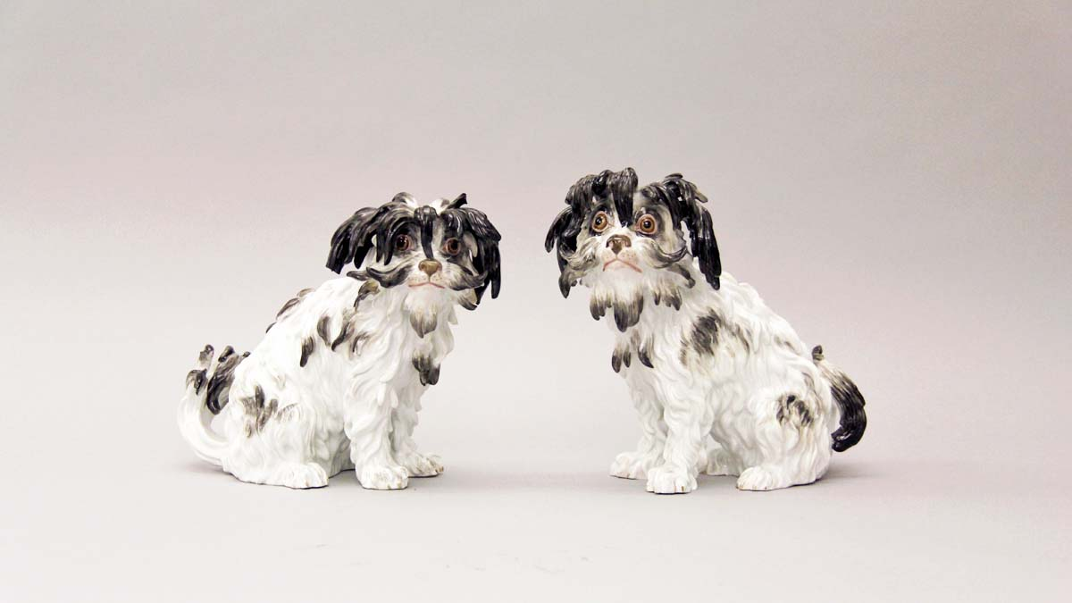 Pair of Bolognese Hounds Meissen Porcelain Manufactory, Model by Johann Joachim Kaendler, 19th century Hard paste porcelain with overglaze enamels Anonymous Loan