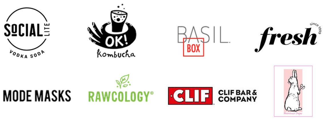 SoCIAL LITE Vodka Soda; Ok! Kombucha; Basil Box; Fresh; Mode Masks; Rawcology; Clif Bar & Company; WonderBunnie Designs