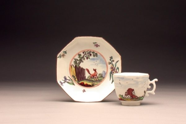 Cup and Saucer with Aesop's Fables (The Lion and the Mouse and The Fox and the Grapes), Chelsea Porcelain Manufactory, England, c. 1752-1755, Soft-paste porcelain