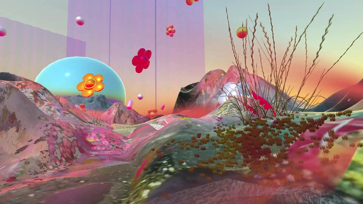 Digital landscape with mountains and flowers by Diana Lynn VanderMuelen