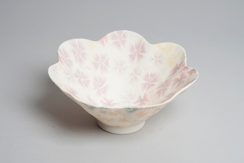 White and pink floral ceramic bowl