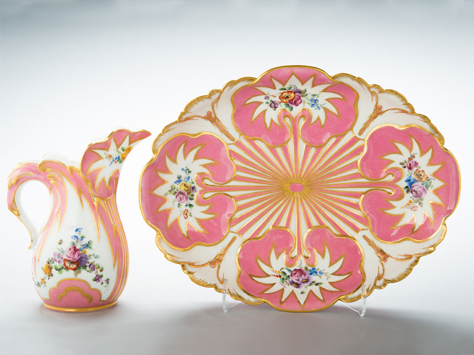Ewer and basin with pink glaze and gilding