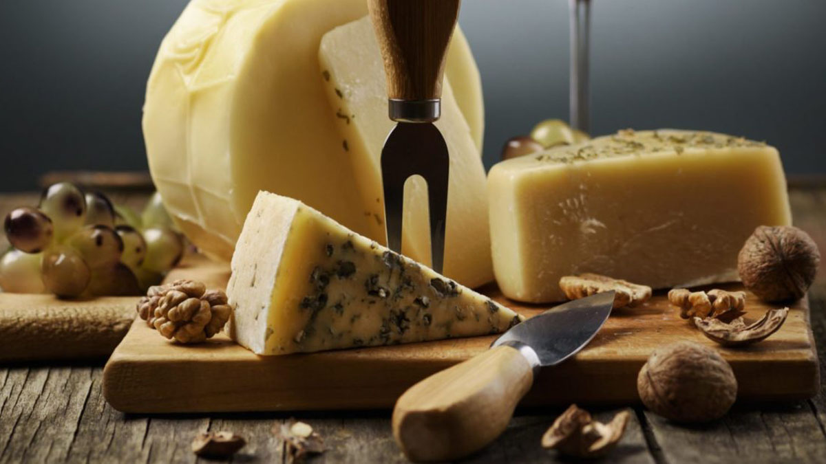 Cheese board with a variety of cheeses as well as grapes and nuts