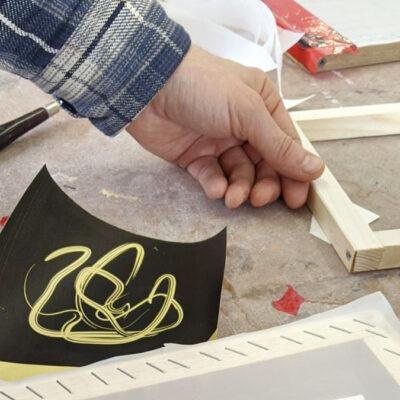 Hands of an artist working in the studio