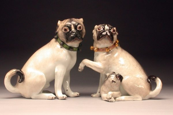 Two pug-dogs and pup, Germany, Meissen Porcelain Manufactory, J.J. Kandler modeller, c. 1745