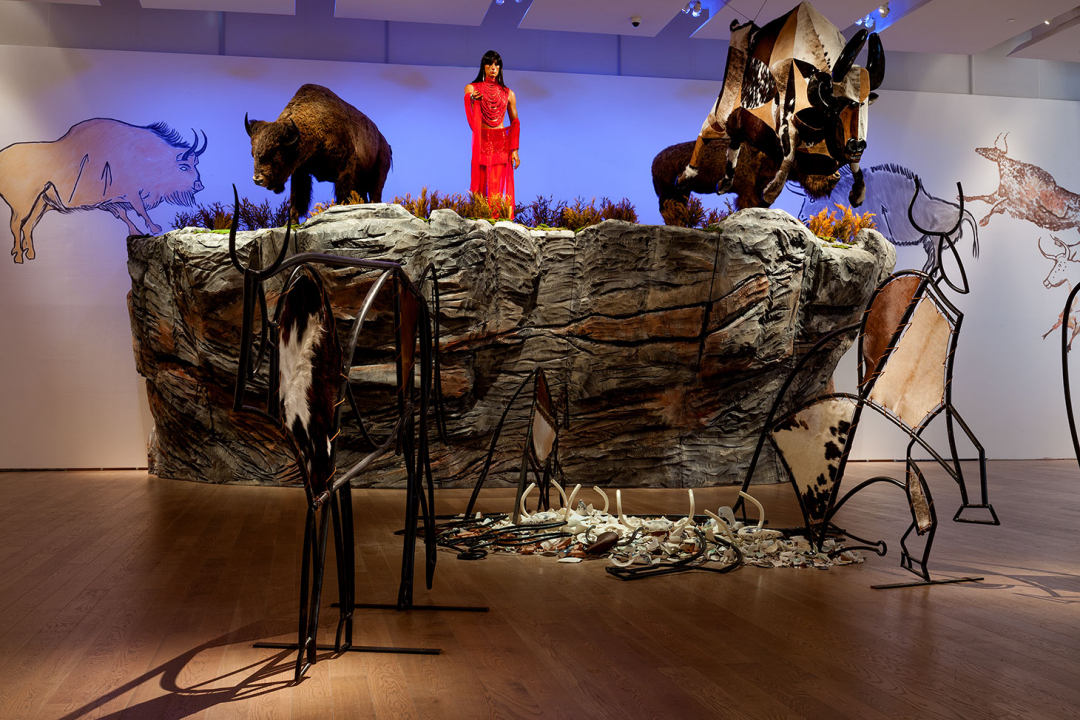 A view of Kent Monkman's The Rise and Fall of Civilization installation at the Gardiner Museum in 2015 (photo by Jimmy LImit, and courtesy the Gardiner Museum)