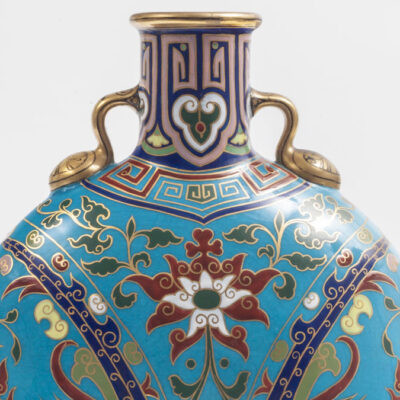 Blue ceramic vase with enamels