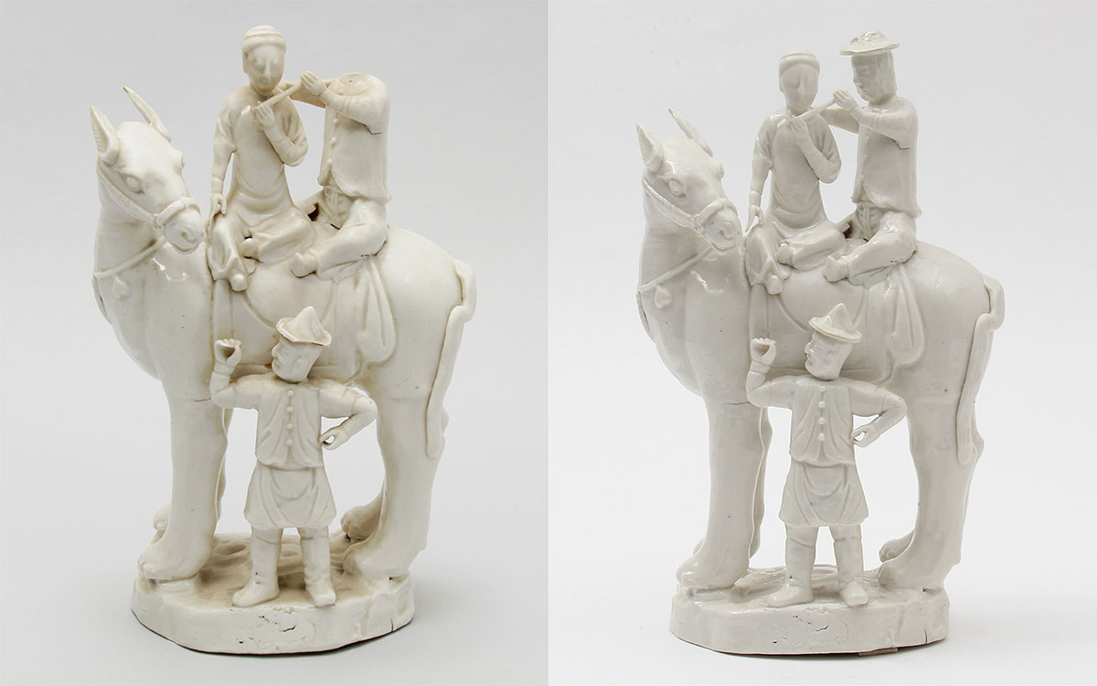 Chinese porcelain figure of three men and a horse, shown before restoration and after