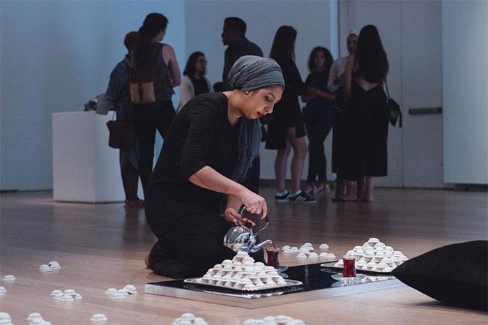 Artist Habiba El Sayed performing at the Gardiner Museum