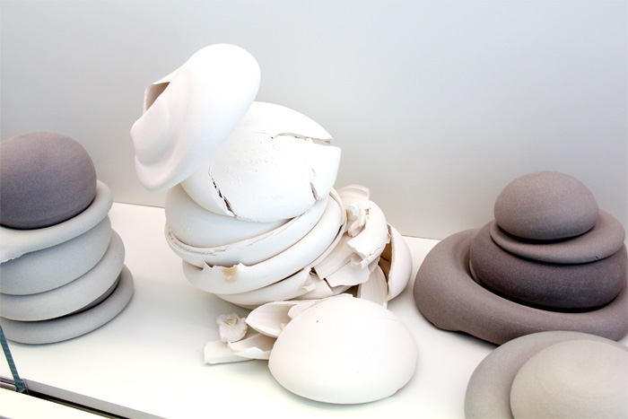 Ceramic sculptures by Michelle Mendlowitz and Robin Tieu