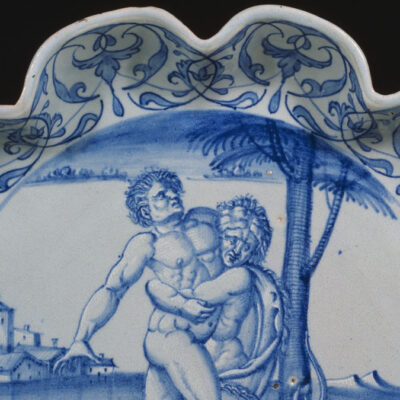 Detail of a blue and white maiolica dish with Hercules and Antaeus,