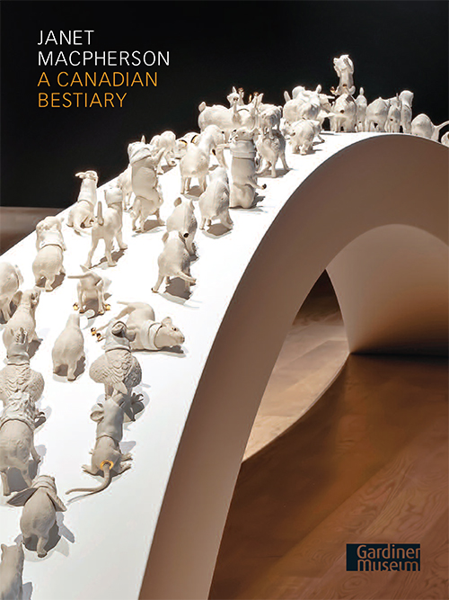 Exhibition cover with white porcelain animals crossing a bridge