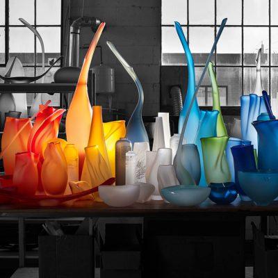 Vessels sitting on a table in Jeff Goodman Studio