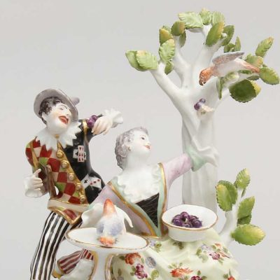 Harlequin and Lady with Parrots - Imitation (detail), c. 1930-35, Meissen Porcelain Manufactory, Germany. Original modeled byJohann Joachim Kändler. Hard-paste porcelain with overglaze enamels, gilding. Gift of George and Helen Gardiner. G83.1.947