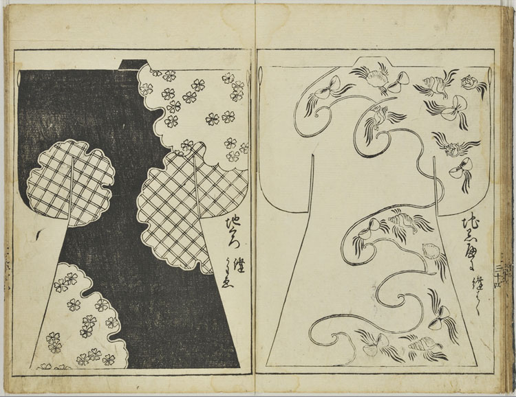 Japanese woodblock print of a pattern for a kosode