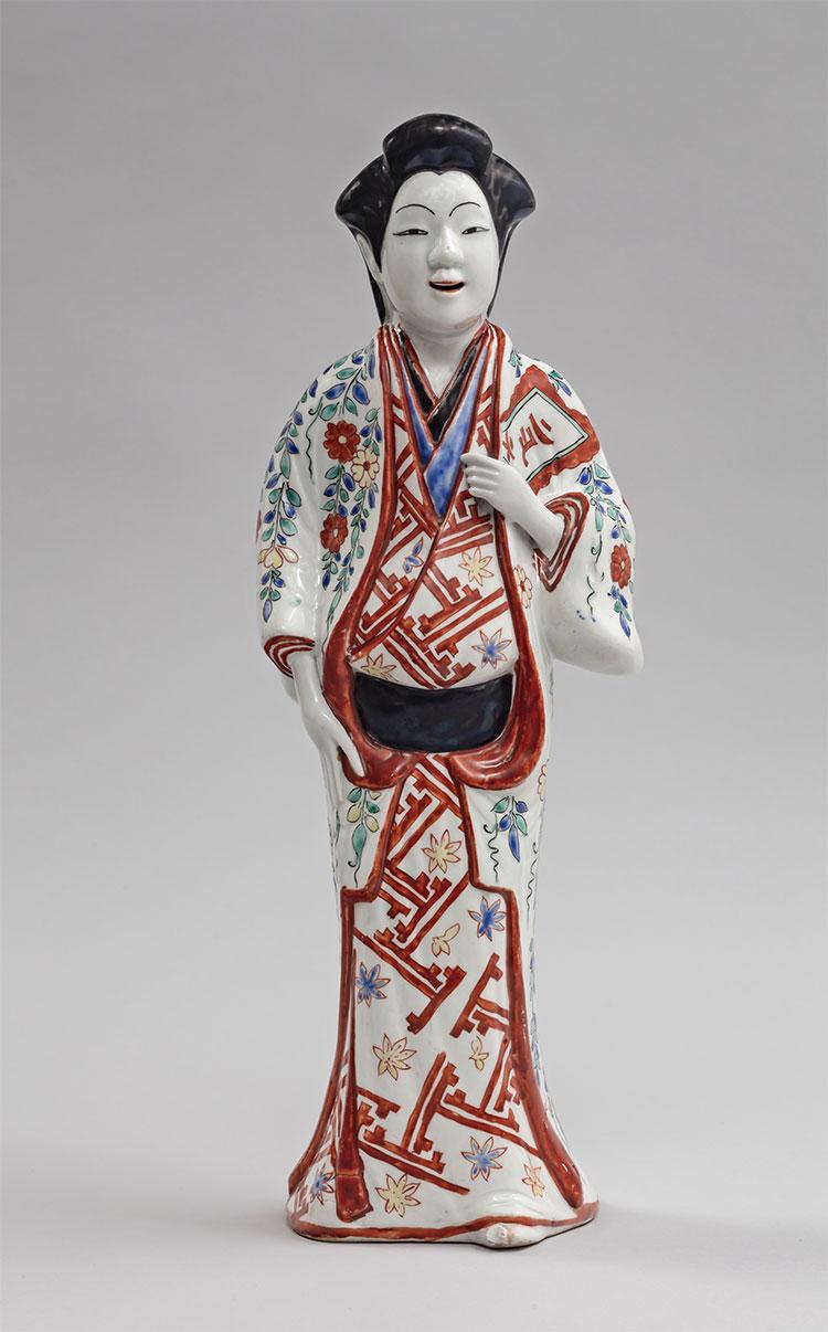 Ceramic figure of a woman in a kosode