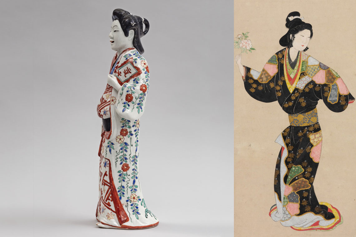 A ceramic figure wearing a kosod next to a scroll depicted a woman wearing a kosode