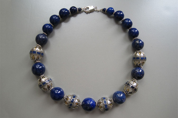Necklace with antique blue and silver beads
