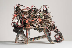 Abstract ceramic sculpture with tangles of clay