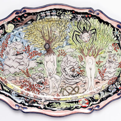 Contemporary maiolica plate by Lindsay Montgomery