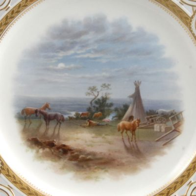 "Dessert Plate from the Milton Service, ""Our Night on Eagle River – Expecting the Crees"" (detail), c. 1867, England, Minton, Purchased with a gift from N. Robert Cumming, G04.20.1"