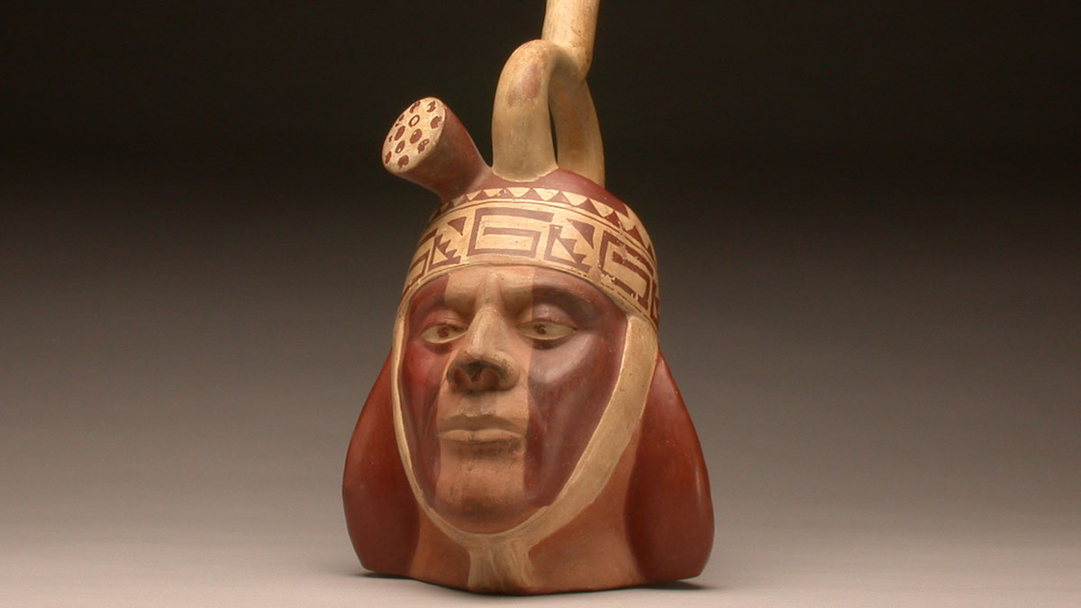 Stirrup-spout portrait head bottle, 500-700, Peru, Chicama, Moche or Viru Valley, Gift of George and Helen Gardiner, G83.1.165