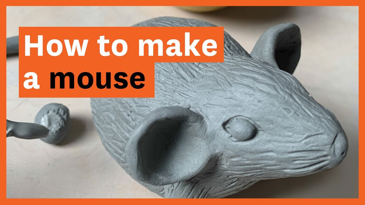 """""""How to make a mouse"""" written over a photo of a clay mouse"""