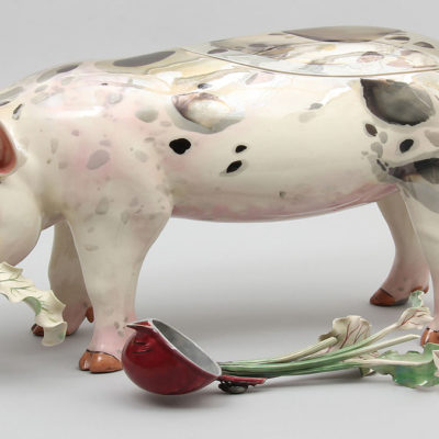 Ceramic pig tureen with ladle shaped like a beet