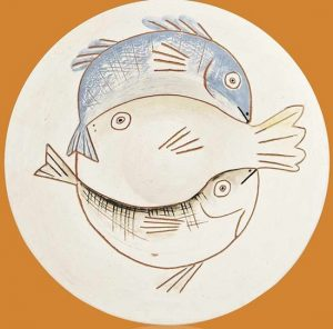 Illustration of fish on a white plate