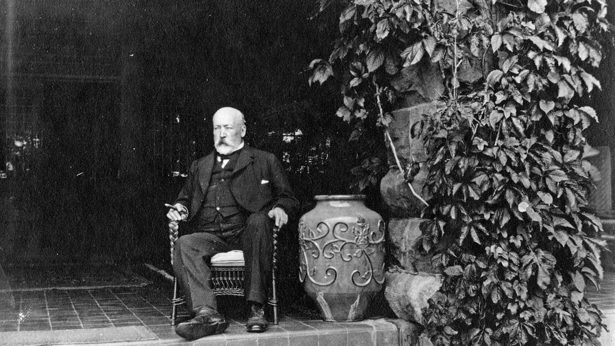 Artist unknown, William Van Horne Seated on the Verandah of Covenhoven, St Andrews, New Brunswick, ca 1914-15. Library and Archives Canada, e007914039