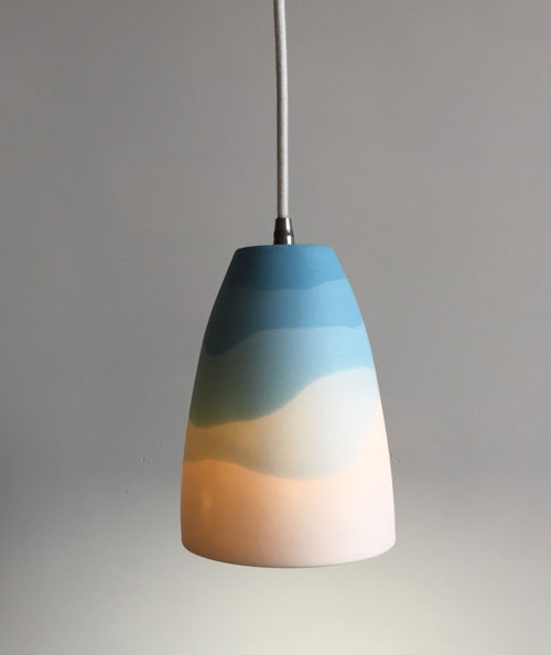 Ceramic pendant lamp with Misty Mountain pattern
