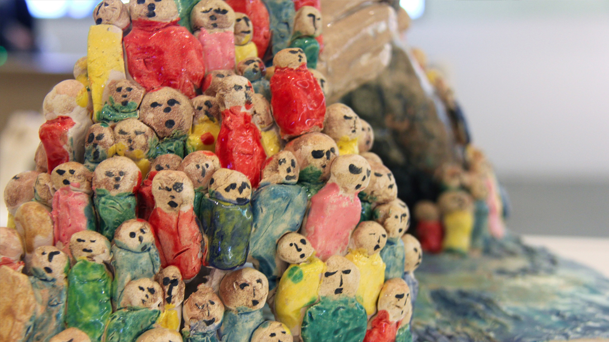 Colourful ceramic figurines