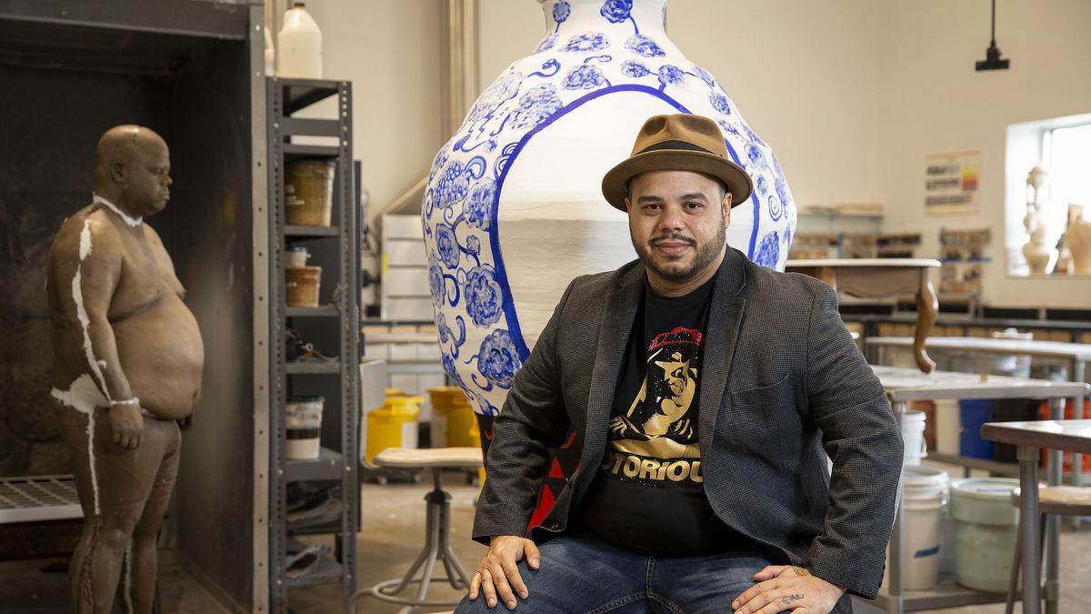 Roberto Lugo in his studio