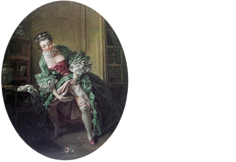 Painting of a woman using a chamber pot