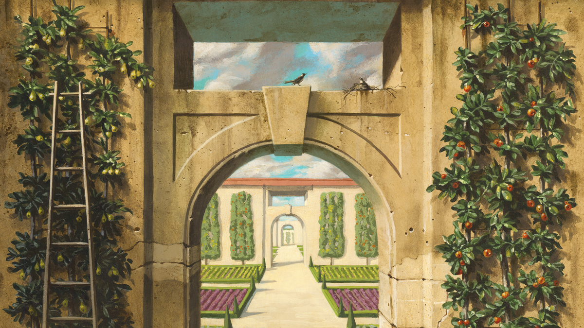 Painting of an archway in a kitchen garden