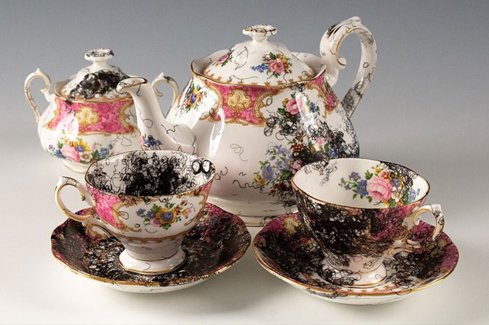 Vintage porcelain painted with curly black lines