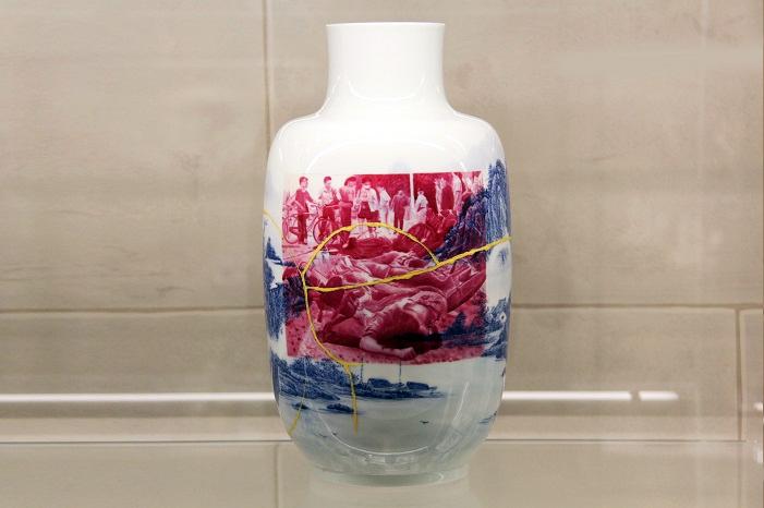 Ceramic vessel with kintsugi by ceramist Paul Matheiu
