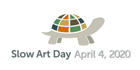 Turtle logo with text that says Slow Art Day April 4, 2020