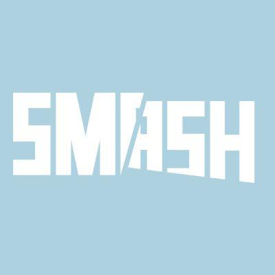 SMASH logo on a light blue background