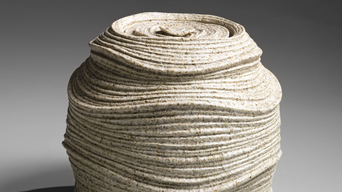Sakiyama Takayuki, Chōtō; Listening to the Waves, 2012 Stoneware with sand glaze 10 3/8 x 9 1/2 x 5 5/8 in On loan from Joan B Mirviss LTD