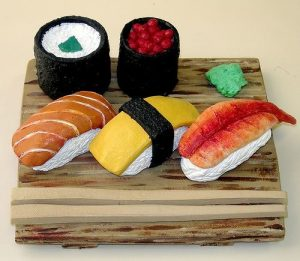 Sushi made of clay
