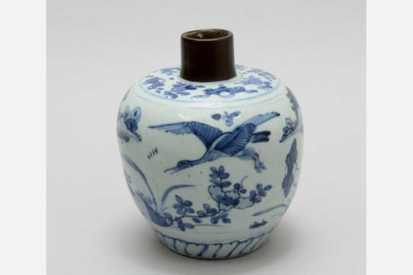 Jar with Brass Mount , China, Jingdezhen, Ming Dynasty (1368–1644), late 16th - early 17th century, Porcelain with underglaze blue decoration; brass, Loan from The Anne Gross Collection
