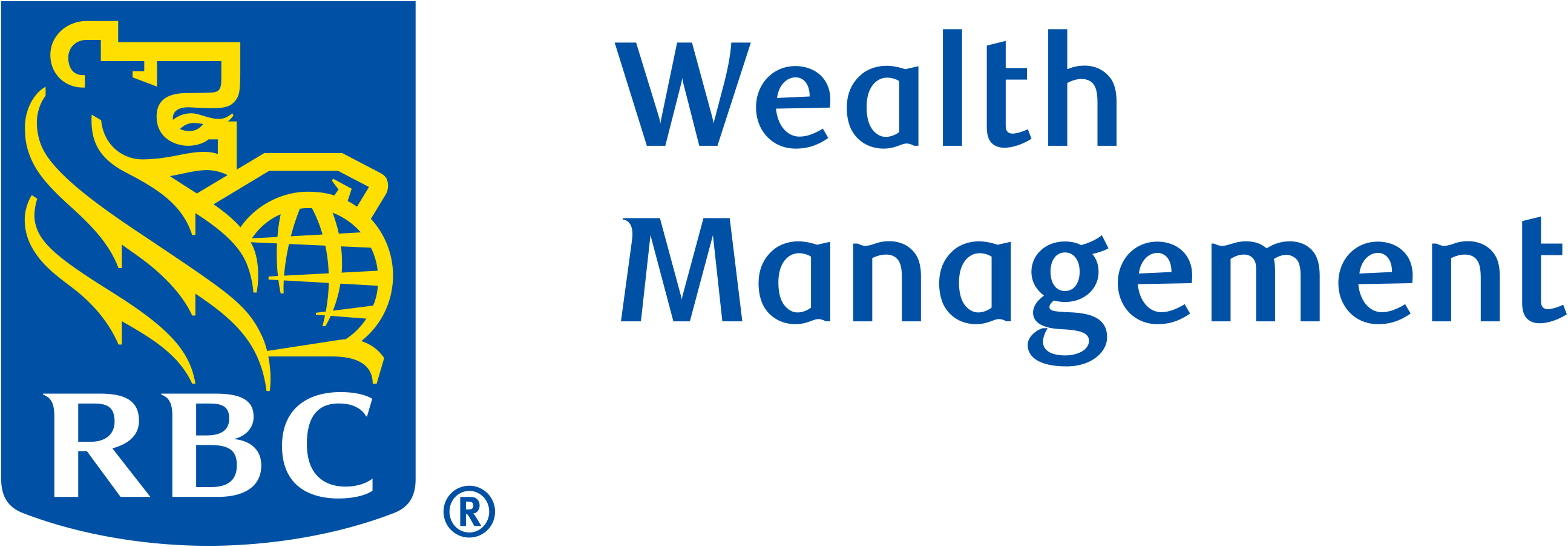 RBC Wealth Management logo with yellow, blue, and white shield