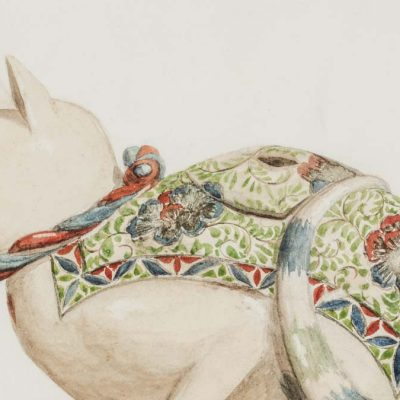William Van Horne, Incense burner in the shape of a sitting cat (detail), 1896, watercolour on paper, 22.5 x 18 cm, Courtesy of Sally Hannon. Photo by Toni Hafkenscheid.
