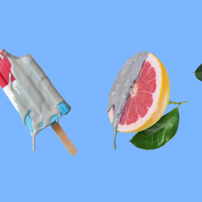 Items dripping with clay including an orange, popsicle, grapefruit, and plant leaf