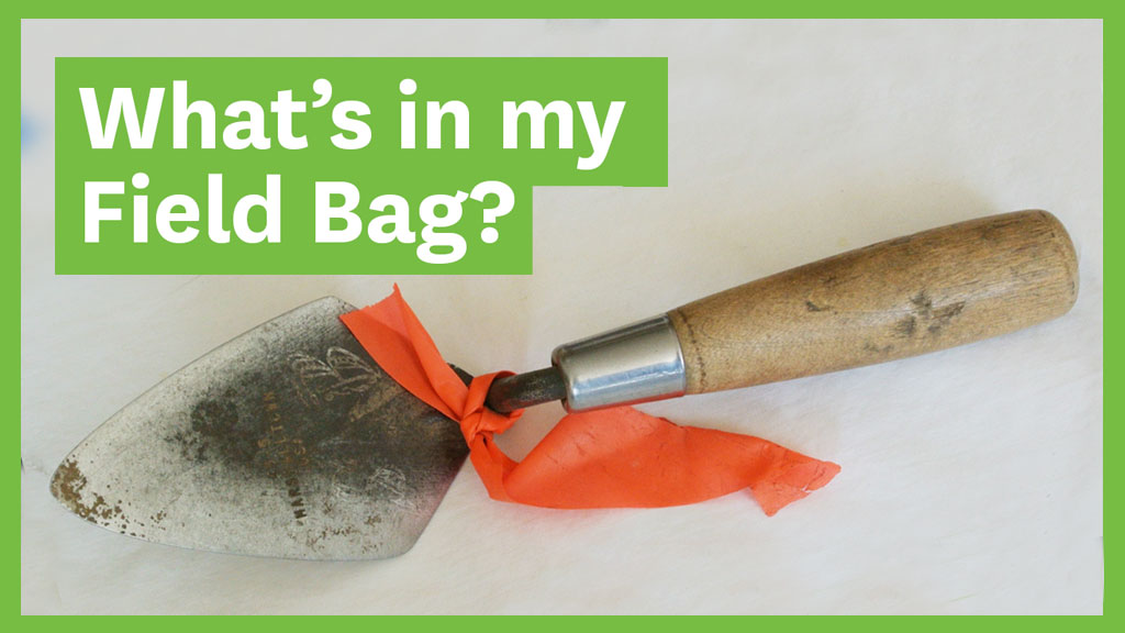 """Trowel with text overlaid that says """"What's in my Field Bag"""""""