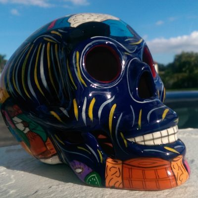 Painted clay skull